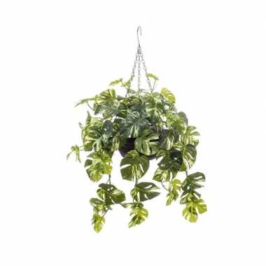 Nep planten groen met gele monstera gatenplant kunstplanten 50 cm met