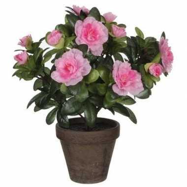 Nep planten groene azalea kunstplanten met roze bloemen 27 cm met pot