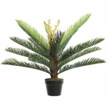 Nep planten groene boomvarens grasplant kunstplanten 75 cm met zwarte