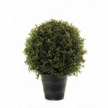 Nep planten groene buxus bol struik kunstplanten 42 cm met zwarte pot