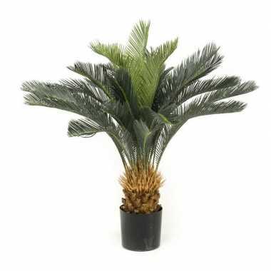 Nep planten groene cycas revoluta vredespalm kunstplanten 90 cm met z