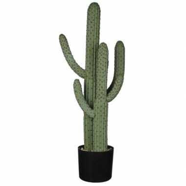Nep planten groene euphorbia cowboycactus kunstplanten 85 cm met zwar
