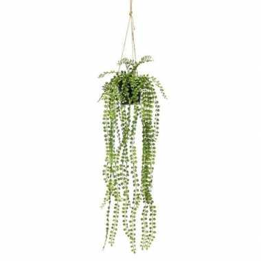 Nep planten groene ficus pumila kunstplanten 60 cm met hangpot