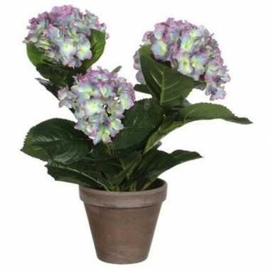Nep planten groene hortensia paarse bloemen kunstplanten 40 cm met pot