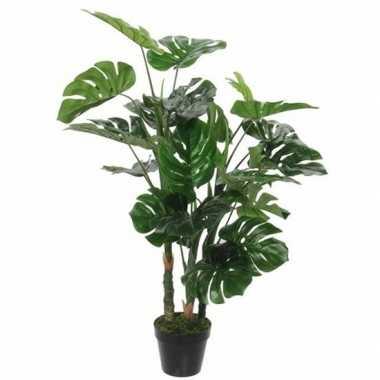 Nep planten groene monstera/gatenplant kunstplanten 100 cm met zwarte