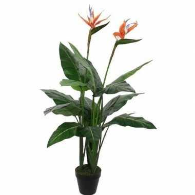 Nep planten groene paradijsvogel kunstplanten 110 cm met oranje bloem