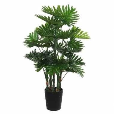 Nep planten groene philodendron kunstplanten 120 cm met zwarte pot
