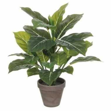 Nep planten groene philodendron kunstplanten 49 cm met grijze pot