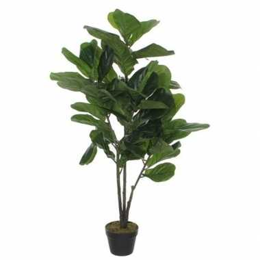 Nep planten groene tabaksplant kunstplanten 120 cm met zwarte pot