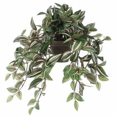 Nep planten groene tradescantia/vaderplant kunstplanten 45 cm met han
