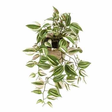 Nep planten groene tradescantia/vaderplant kunstplanten 70 cm met han