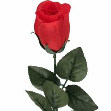 Nep planten rode rosa roos kunstbloemen 60 cm decoratie