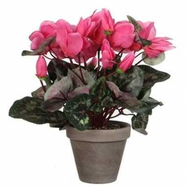 Nep planten roze cycklamen kunstplanten 30 cm met oranje bloemen en g