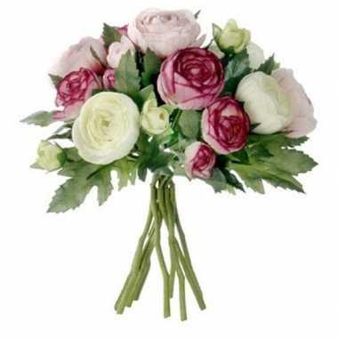 Nep planten roze ranunculus ranonkel kunstbloemen 22 cm decoratie