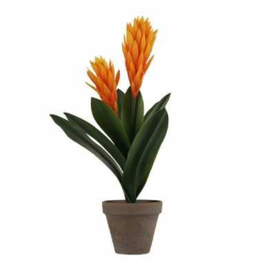 Oranje bromelia kunstplant 45 cm met grijze pot