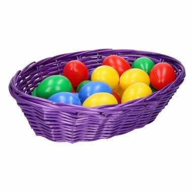 Paars mandje met gekleurde eieren 20 cm