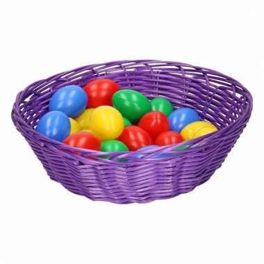 Paars mandje met gekleurde eieren 25 cm