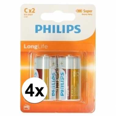 Phillips long life batterijen r14 1,5 volt 8 stuks