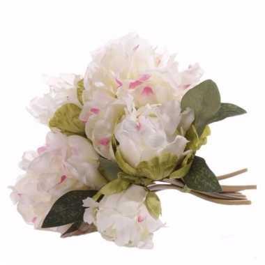 Pioenrozen bruidsboeket witte nepbloemen 25 cm