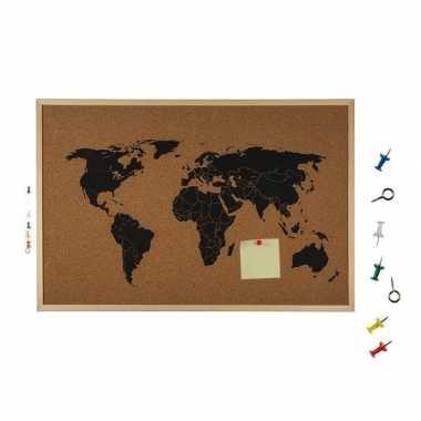Prikborden met wereldkaart 60 cm