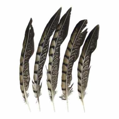 Prins carnaval fazant veren 18 cm 5 stuks