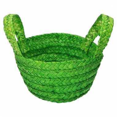 Rieten mandje groen 15 x 18 cm met hengsels