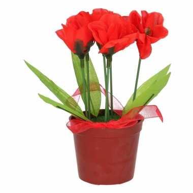 Bloemen In Pot.Rode Bloemen Kunstplant Tulpen Met Pot