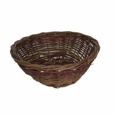 Ronde rieten decoratie mand bruin 40 cm