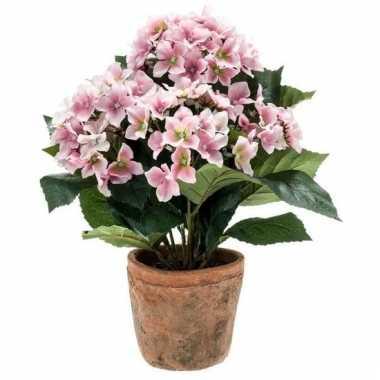Roze kunstplant hortensia plant in pot