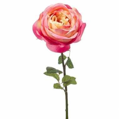 Roze kunstroos kunstbloemen 66 cm decoratie