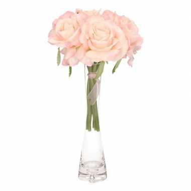 Roze rozen boeket 6 stuks met vaas