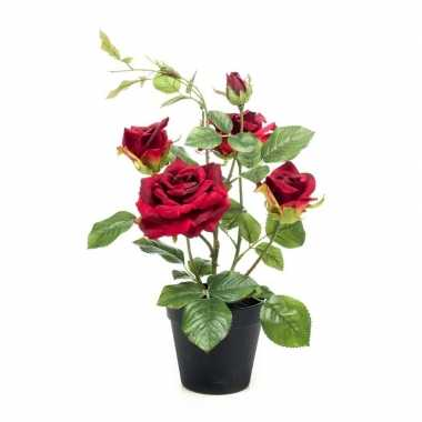Rozen kunst plant in pot 40 cm rood