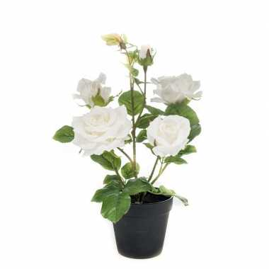 Rozen kunst plant wit in pot 40 cm