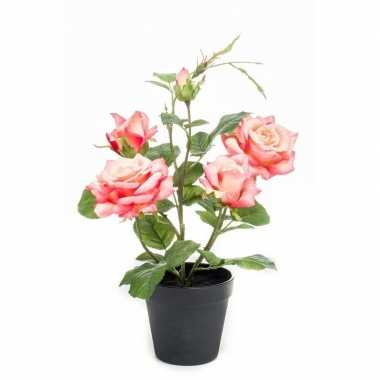 Rozen kunstplant in pot 40 cm perzik