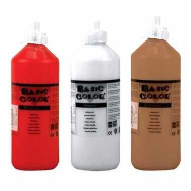 Set van bruine witte en rode plakkaatverf van 3x 500 ml