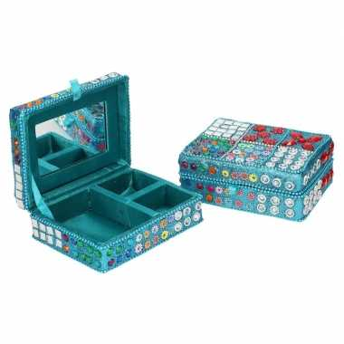 Sieradenkistje/sieradenbox blauw met glitters 8 x 11 cm