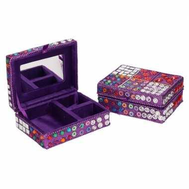 Sieradenkistje/sieradenbox paars met glitters 8 x 11 cm