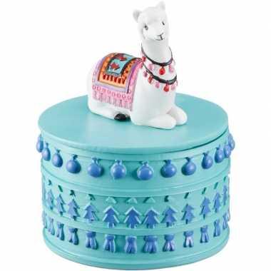Sieradenkistje/sieradenbox witte lamas/alpacas dieren 10 x 8 cm