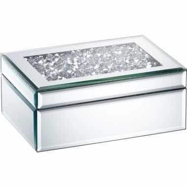 Sieradenkistje/sieradenbox zilver met spiegels 22 x 15 cm