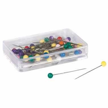 Spelden met gekleurde knop bont 100 stuks