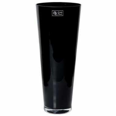 Steelbloemen conische vaas zwart glas 43 cm