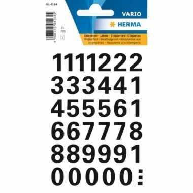 Stickervel met 72x cijfers in het zwart van 1,5 cm