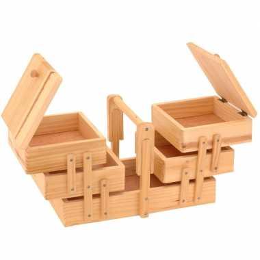 Uitklapbare houten naaidoos met handgreep