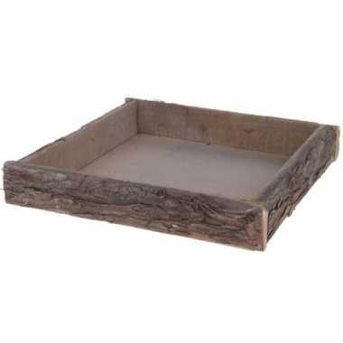 Vierkante boomschors houten kaars onderborden/kaarsenborden 30 cm