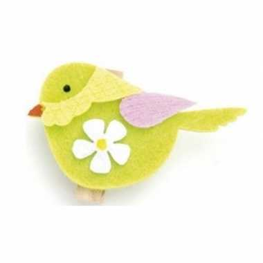 Vilten groene vogel knutselen 6 stuks