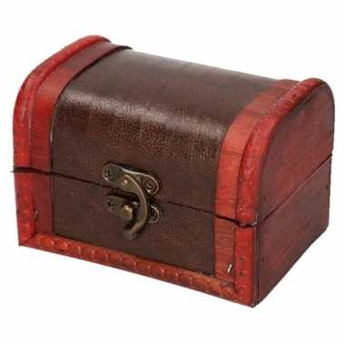 Vintage opbergkistje roodbruin 11 cm