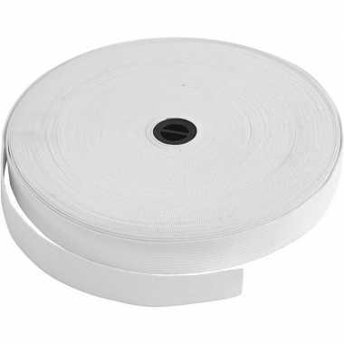 Wit elastiek band 20 mm dik - 25 meter