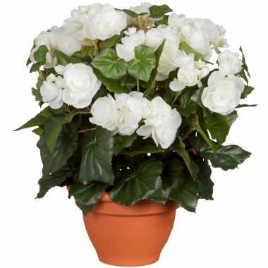 Witte begonia kunstplant 37 cm in terracotta pot