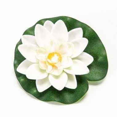 Witte kunst waterlelie kunstbloemen 10 cm decoratie