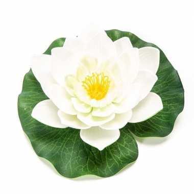 Witte kunst waterlelie kunstbloemen 16 cm decoratie
